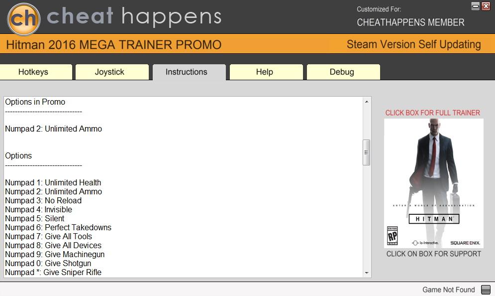 Hitman (2016): Trainer +11 v1.13.2 (DX11) {CheatHappens.com}