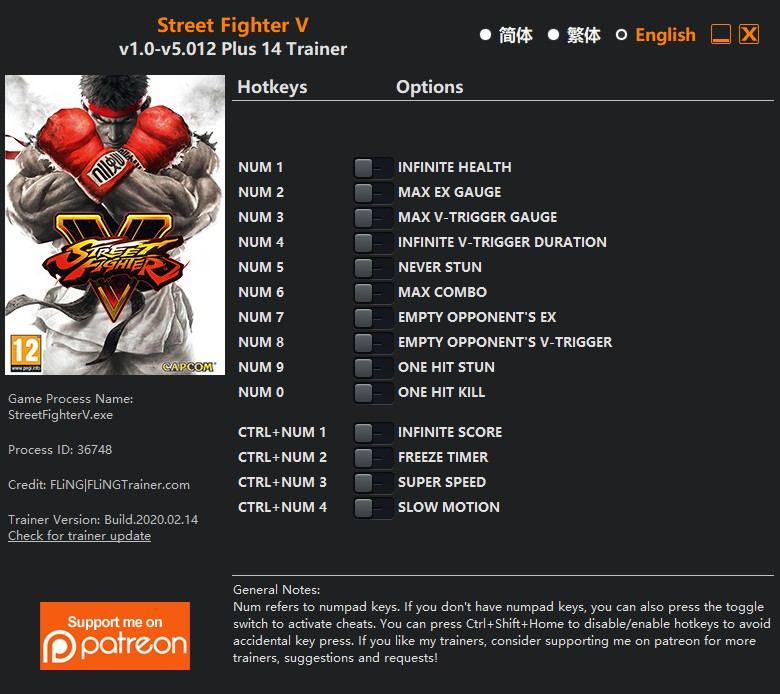 Street Fighter 5: Trainer (+15) [1.03] {LinGon}