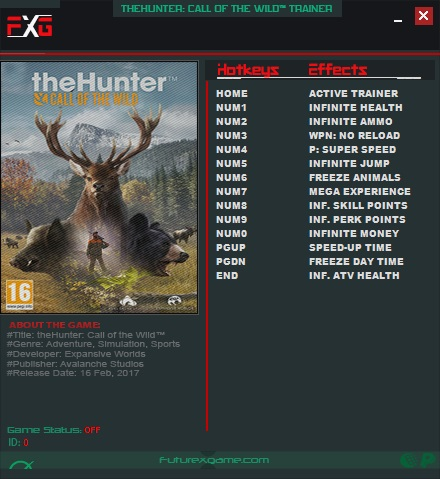 theHunter: Call of the Wild - Trainer +13 v1.19 {FutureX}
