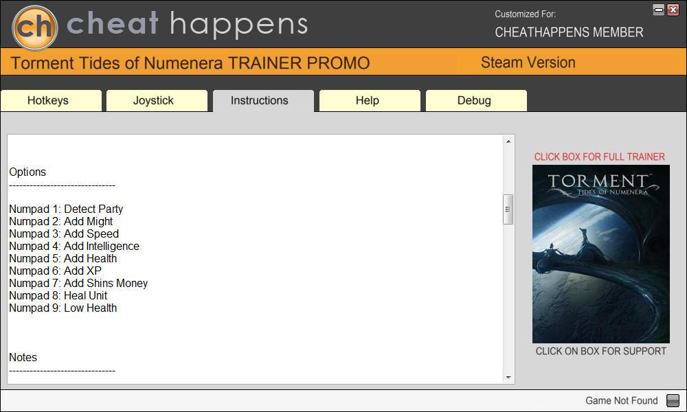 Torment: Tides of Numenera - Trainer +8 v.1.1.0 {CheatHappens.com}