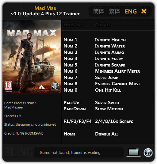 <b>Mad Max</b>: Trainer +12 v1.0 Update 4 {FLiNG} - Download - GTrainers