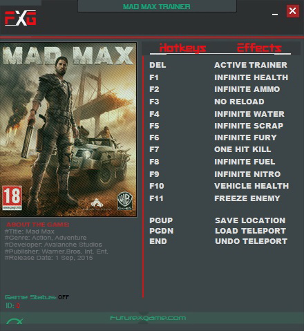 <b>Mad Max</b>: Trainer (+12) [1.0.3.0] {FutureX} - Download - GTrainers