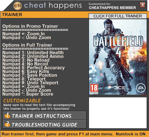 Battlefield 4: Trainer +9 (PATCH 03.21.2017 32-BIT ONLY) {CheatHappens.com}