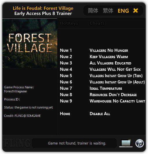 Life is Feudal: Forest Village: Trainer (+8) [Update: 12.03.17] {FLiNG}