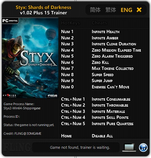 Styx: Shards of Darkness: Trainer (+15) [1.02] {FLiNG}