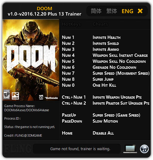 Doom (2016): Trainer +13 v1.0 - Update 2016.12.20 {FLiNG}