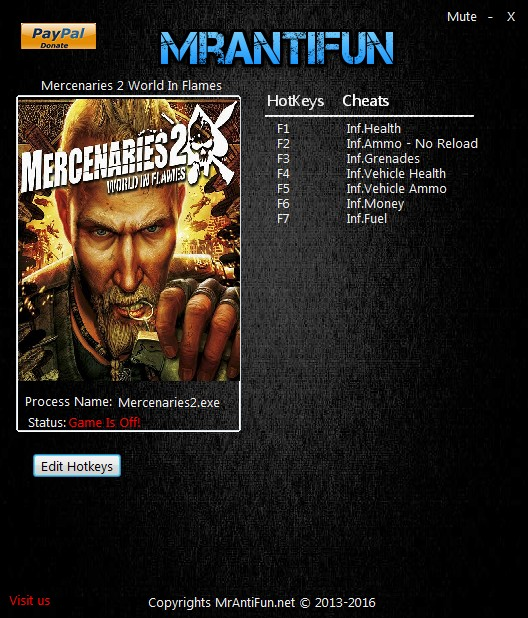 Mercenaries 2: World in Flames - Trainer +8 v.04.03.2017 {MrAntiFun}