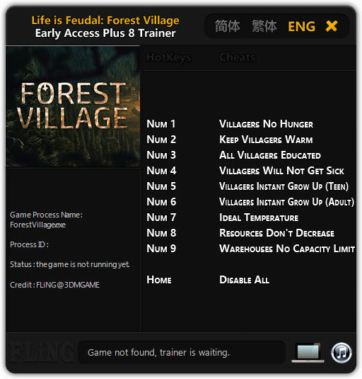 Life is Feudal: Forest Village - Trainer +8 Early Access Updated 24.03.17 {FLiNG}