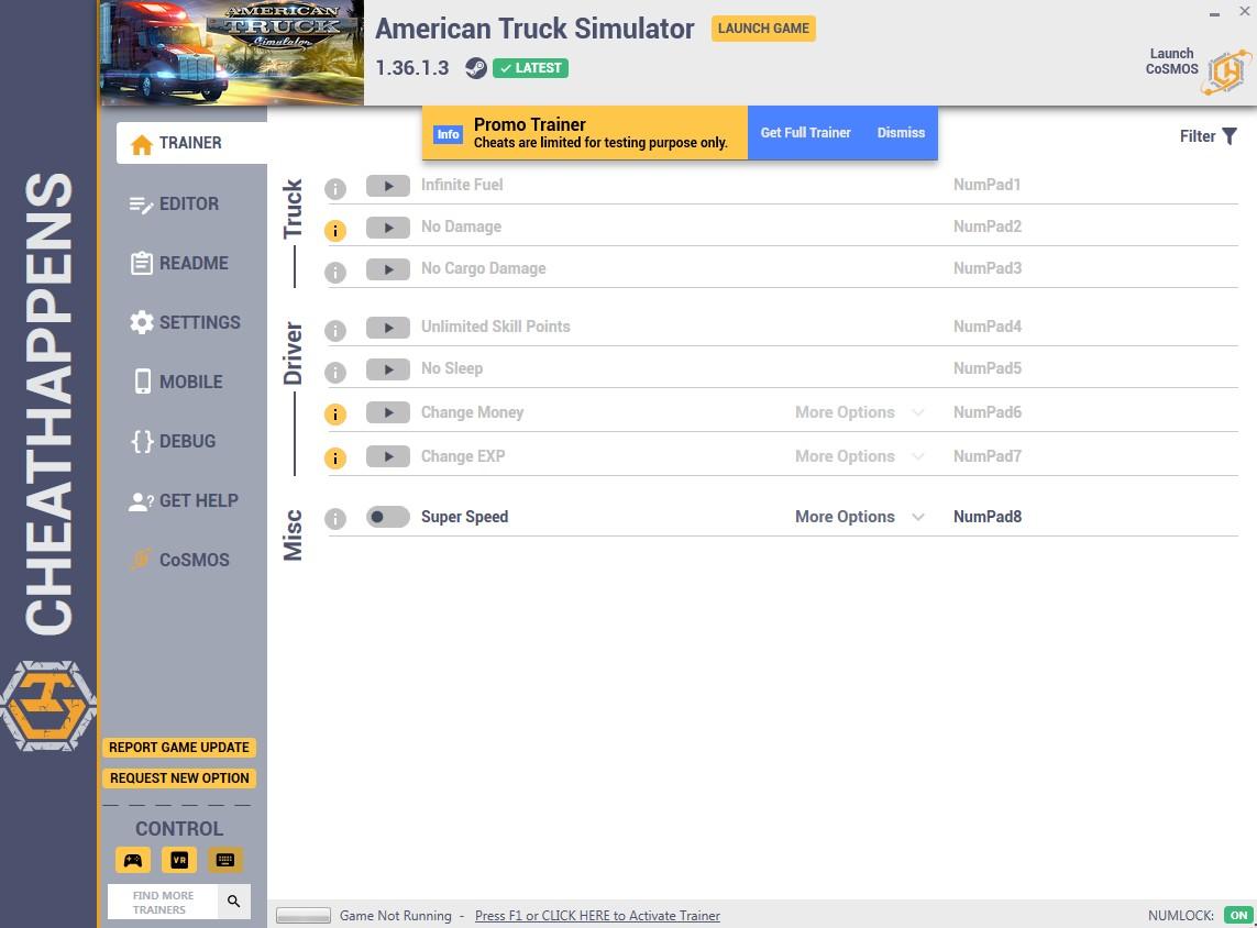 American Truck Simulator: Trainer +8 v1.32.3.45s (64-BIT) {CheatHappens.com}