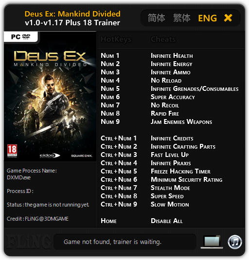 Deus Ex: Mankind Divided - Trainer +18 v1.0 - 1.17 {FLiNG}