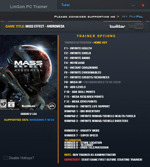 Mass Effect: Andromeda - Trainer +20 v1.04 {LinGon}