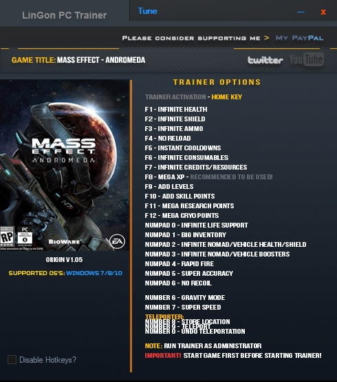 Mass Effect: Andromeda: Trainer (+23) [1.05] {LinGon}