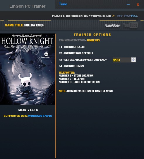 Hollow Knight: Trainer +9 v1.3.1.5 {LinGon}
