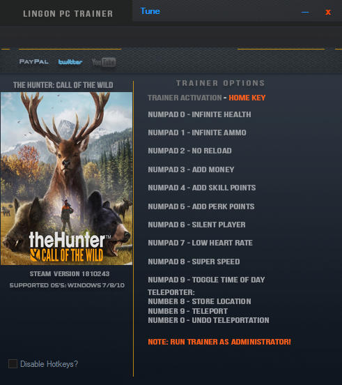 theHunter: Call of the Wild - Trainer +12 v1810243 {LinGon}