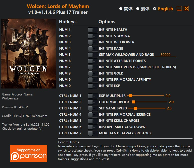 Wolcen: Lords of Mayhem - Trainer (+9) [0.4.0] {MrAntiFun}