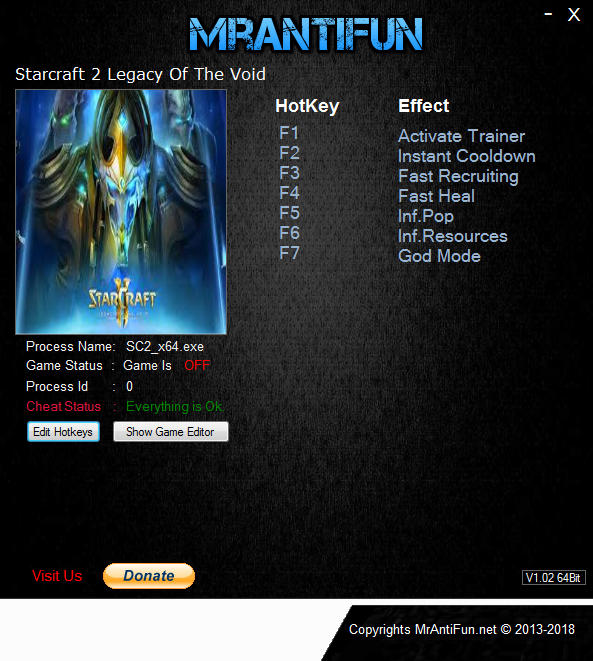 StarCraft 2: Legacy of the Void - Trainer +6 v4.6.1.68195 64bit {MrAntiFun}