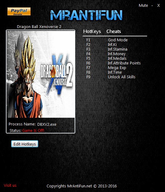 Dragon Ball Xenoverse 2: Trainer (+9) [1.06] {MrAntiFun}