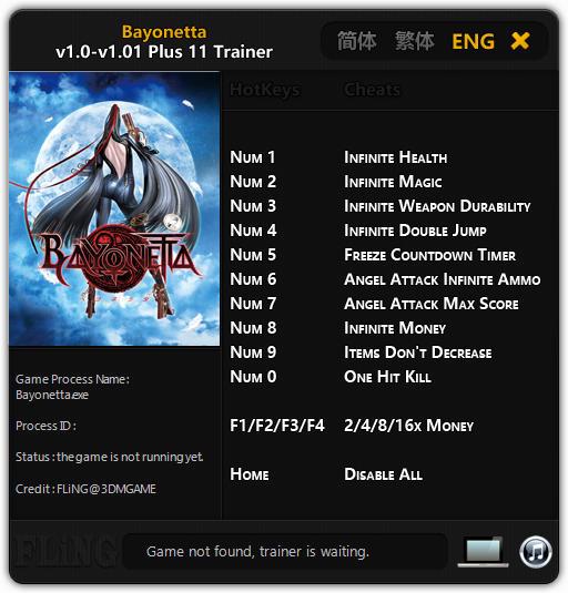 Bayonetta: Trainer +11 v1.0 - 1.01 {FLiNG}