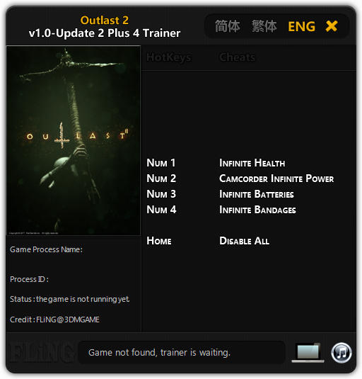 Outlast 2: Trainer +4 v1.0 - Update 2 {FLiNG}