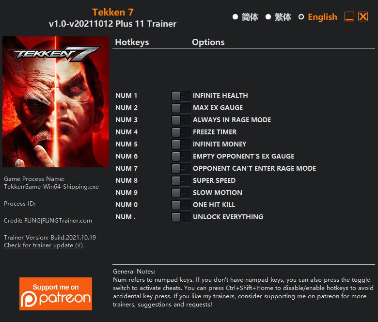 Tekken 7: Trainer +8 V1.0 {FLiNG}