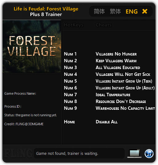 Life is Feudal: Forest Village - Trainer +8 Early Access Updated 2017.06.02 {FLiNG}