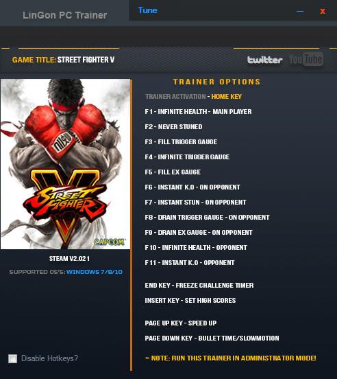 Street Fighter 5: Trainer +15 v2.021 {LinGon}