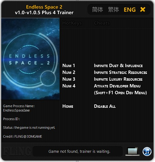 Endless Space 2: Trainer (+4) [1.0 - 1.05] {FLiNG}