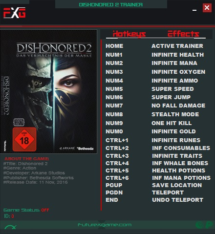 Dishonored 2: Trainer (+17) [1 77 5 0] {FutureX} - Download - GTrainers