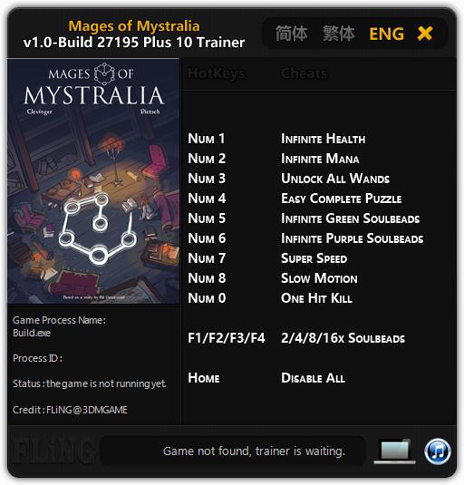 Mages of Mystralia: Trainer +10 v1.0 - Build 27195 {FLiNG}