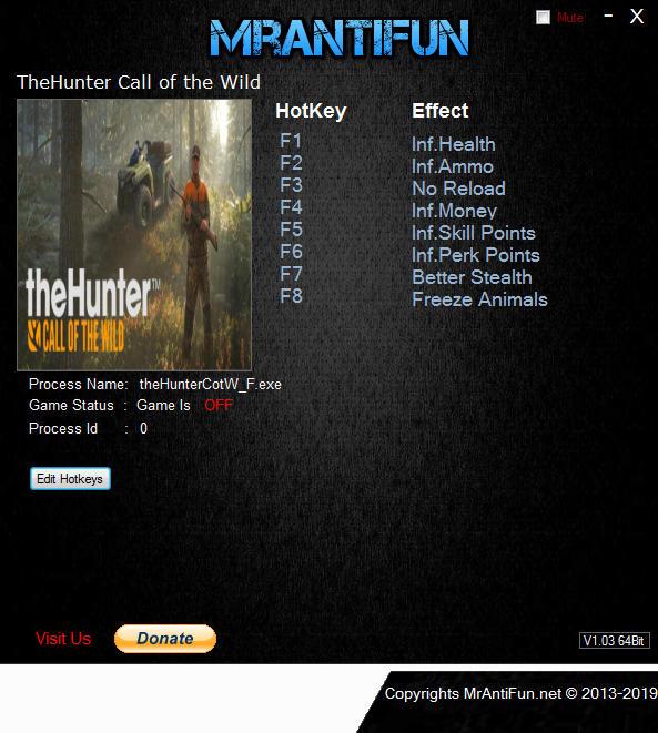 theHunter: Call of the Wild - Trainer (+8) [1.8] {MrAntiFun}