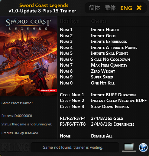 Sword Coast Legends: Trainer (+15) [1.0 - Update 8] {FLiNG}
