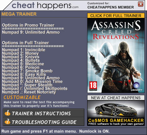 Assassin's Creed: Revelations - Trainer +13 v1.03 (STEAM 07.19.2017) {CheatHappens.com}