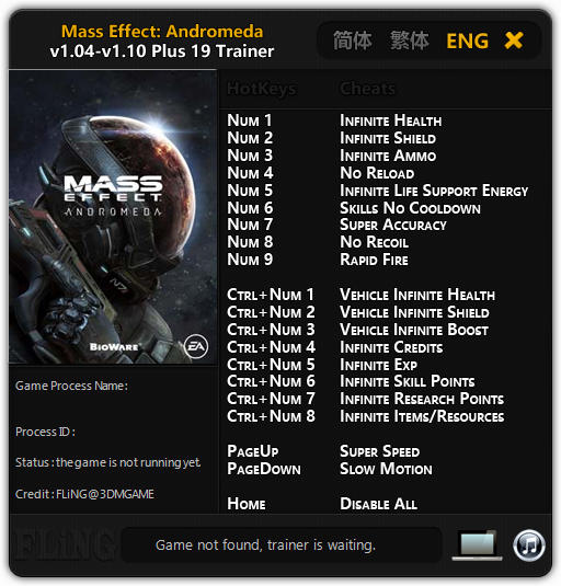 Mass Effect: Andromeda: Trainer (+19) [1.04 - 1.10] {FLiNG}