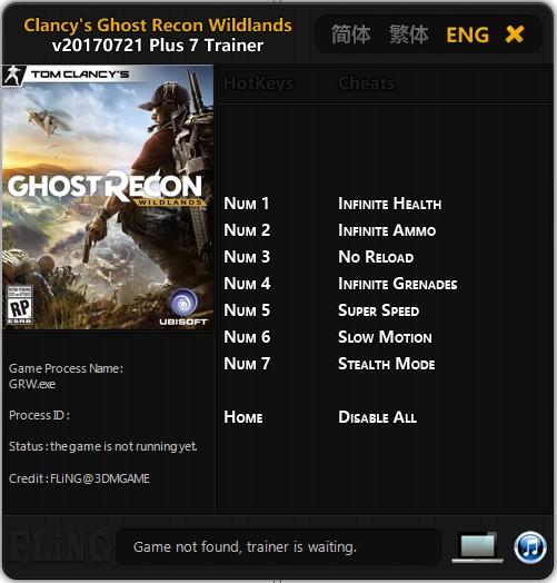 Tom Clancy´s Ghost Recon: Wildlands - Trainer (+7) [UPD