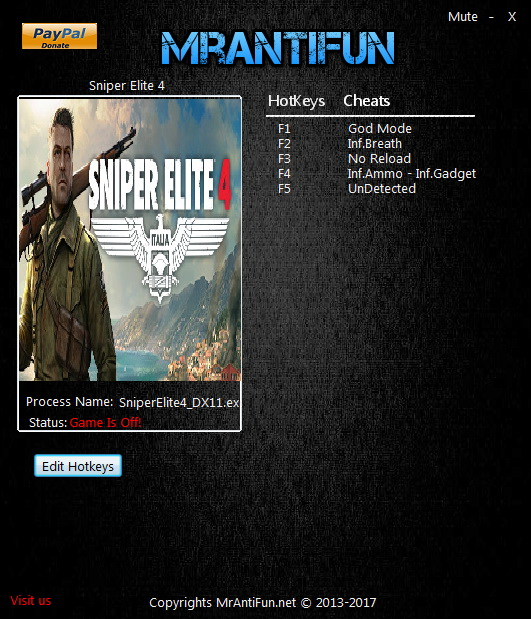 Sniper Elite 4: Trainer +6 v1.5.0 DX12 {MrAntiFun}