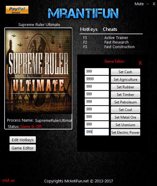 Supreme Ruler Ultimate: Trainer +11 v9.1.38 {MrAntiFun}
