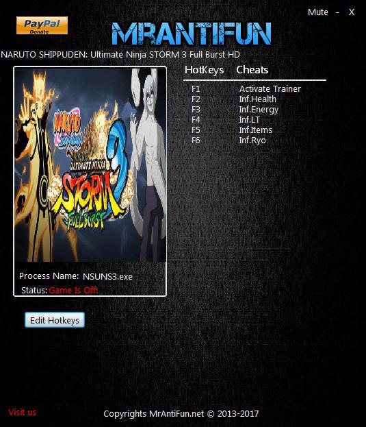 Naruto Shippuden: Ultimate Ninja Storm 3 Full Burst HD - Trainer +5 v1.00 {MrAntiFun}