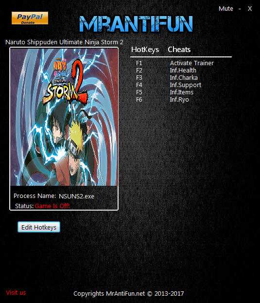 Naruto Shippuden: Ultimate Ninja Storm 2 -Trainer +5 v1.00 {MrAntiFun}