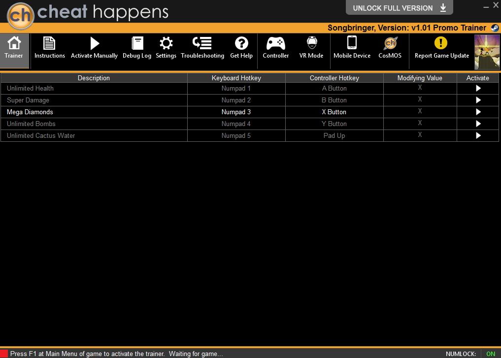 Songbringer: Trainer +5 v1.01 {CheatHappens.com}