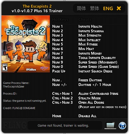 The Escapists 2: Trainer (+16) [1.0 - 1.0.7] {FLiNG}