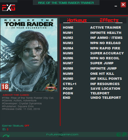 Rise Of The Tomb Raider 20 Year Celebration Trainer 12 1 0