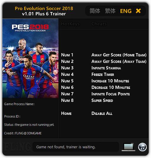 Pro Evolution Soccer 2018: Trainer +6 v1.01 {FLiNG}