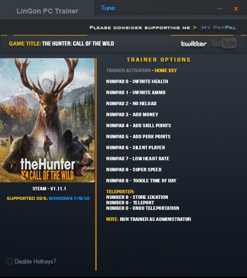 TheHunter: Call of the Wild: Trainer (+12) [1.11.1] {LinGon}