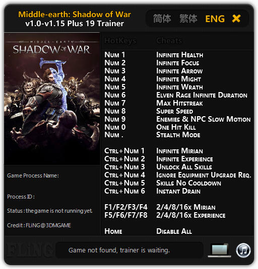Middle-earth: Shadow of War - Trainer +16 v1.0 {FLiNG}