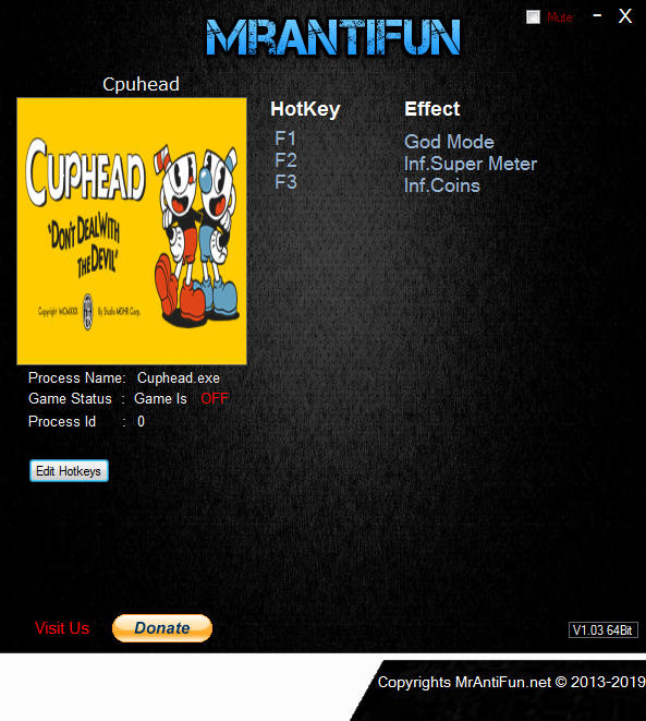 Cuphead: Trainer +3 Steam V10.1.2017 {MrAntiFun}