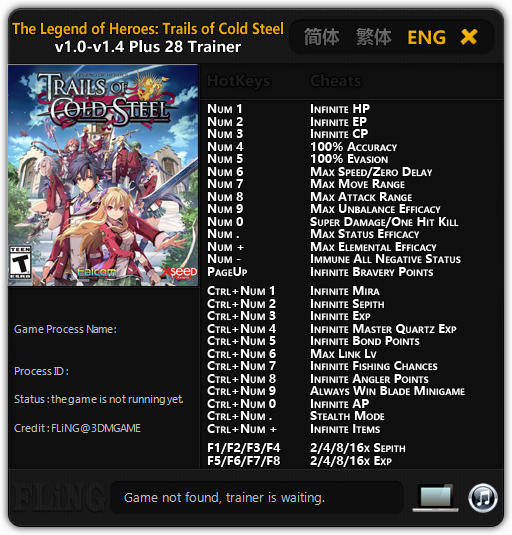 The Legend of Heroes: Trails of Cold Steel - Trainer +28 v1.0 - 1.4 {FLiNG}