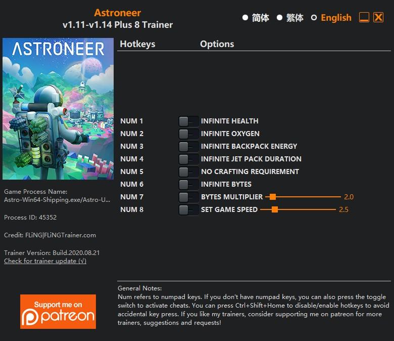 Astroneer: Trainer +4 v0.10.2.0 {MrAntiFun}