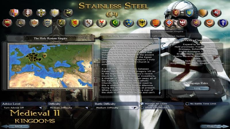 Medieval 2: Total War - Stainless Steel: Save Game (The Roman Empire - Germany, 1220) [6.4]