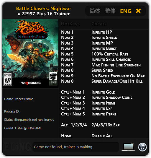 Battle Chasers: Nightwar - Trainer +16 v.22997 {FLiNG}