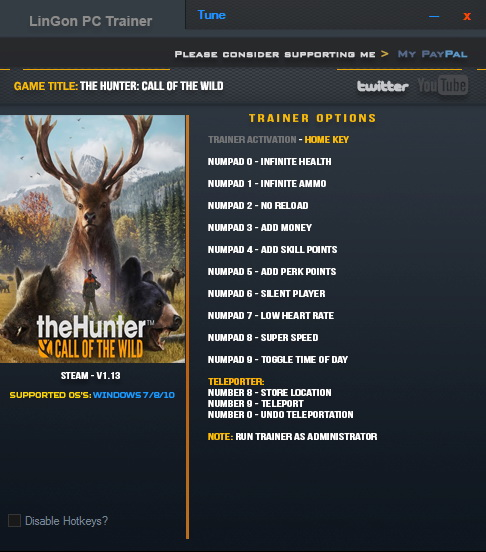 theHunter: Call of the Wild - Trainer (+12) [1.13] {LinGon}